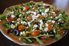 Feta, Balsamic Roasted Tomatoes, Olive and 4 Leaf Pizza - Just 245 calories. From Hungry Healthy Happy.