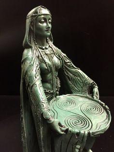Celtic Goddess Danu Green Bronze Resin Statue by Maxine Miller ©Maxine Miller - Front Angle Celtic Goddess, Celtic Mythology, Goddess Art, Wicca, Magick, Book Of Kells, Mother Goddess, Triple Goddess, Gods And Goddesses