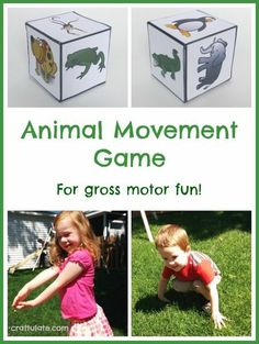 Gross motor fun with this free printable animal movement game! Animal Movement Game – with free printable from Craftulate Physical Activities For Preschoolers, Gross Motor Activities, Animal Activities, Gross Motor Skills, Preschool Activities, Preschool Education, Music Activities, Animal Games, Animal Movement