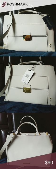 Brand New Steve Madden Satchel off-white Brand new Steve Madden satchel😍😍. Roomy and contains many compartments.❤ So sturdy hence always looks stylish.  Beautiful color that oozes style and elegance.. Comes with a small purse inside.  All tags intact. Never used. Just recieved as a gift. Steve Madden Bags Satchels