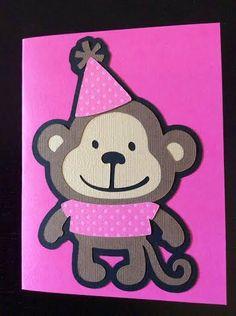 Monkey Happy Birthday Card  pink by MegansPaperCreations on Etsy, $6.00