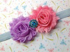 Double Shabby Chic Flower Headband  Pink by PurpleFairyCreations