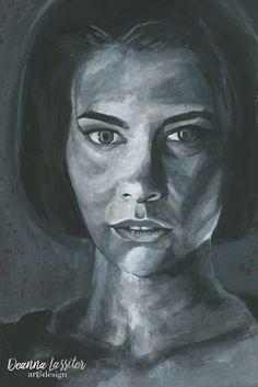 Maggie the Walking Dead gouache realistic portrait painting