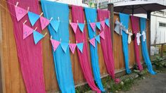 Pink and Blue decor ideas and banner for a gender reveal party Reveal Parties, Gender Reveal, Banner, Party Ideas, Decor Ideas, Joy, Pink, Blue, Banner Stands