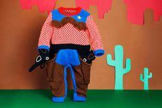Cowboy Knitted Babygrow Onesie  Handmade by TheMiniatureKnitShop, $232.00
