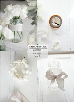 images of beach cottage decor | love white flowers, mason / jam jars, vintage ribbon and shells