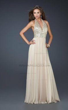 Halter Champagne Long Deep V-neck Ruffles Dress for Prom 2013