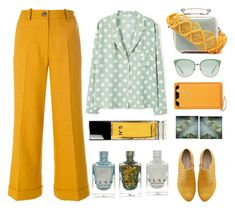 """""""Mustard and mint"""" by juliehalloran ❤ liked on Polyvore featuring Erika Cavallini Semi-Couture, MANGO, Marni, Charlotte Olympia, Gucci, Polaroid and Chanel"""