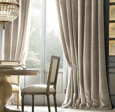 Soft gray velvet drapes.  The Enchanted Home: The velveteen habit.........
