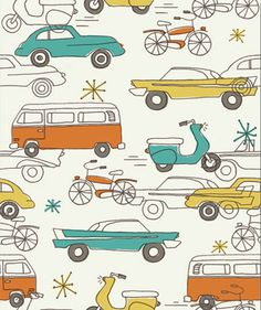 VW Bus Vintage fabric vintage; okay, I may need to buy this and redo our guest room.