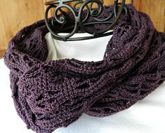 Infinity Scarf Crocheted Cotton Lightweight Deep Dark by Cozy