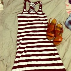 Maxi dress Black and white strap maxi dress with T back style ! Never been worn Wet Seal Dresses Maxi