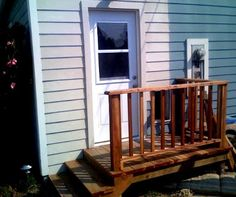 Over the summer, we added an exterior door, a small pet door, and a landing with steps to the backyard from the master bedroom in the back o. Outdoor Projects, Outdoor Decor, Outdoor Stuff, Backyard Landscaping, Backyard Ideas, Porch Ideas, Back Porches, Back Steps, Outdoor Stairs