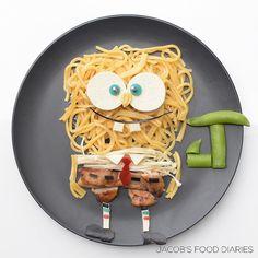 SPONGEBOB SQUAREPANTS Hokken noodles with honey soy chicken, enoki mushrooms, tofu and peas by JACOB'S FOOD DIARIES (@jacobs_food_diaries)