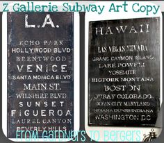 from GARDNERS 2 BERGERS: ✥ Z Gallerie Subway Art Knock Off ✥A great tutorial for a gallery wrapped subway art piece. She used favorite vacation spots to spark good memories.