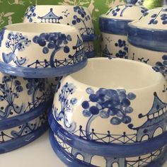 """Chinoiserie Dog Bowl - Medium  Blue COPYRIGHT DESIGN    Base is 8"""" acros  *****to add a name, an additional personalization listing must be"""