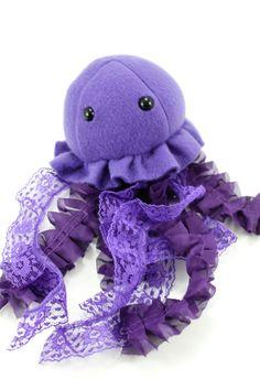 Purple Jellyfish Stuffed Animal Plush Toy by BeeZeeArt on Etsy. I love the use of lace