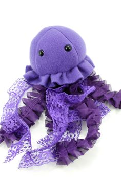 Purple Jellyfish Stuffed Animal Plush Toy by BeeZeeArt on Etsy. I love the use of lace