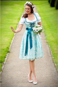 AlpenHerz Designer Dirndl Tiffany seide türkis brautdirndl model
