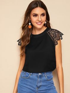 To find out about the Scallop Trim Lace Contrast Sleeve Blouse at SHEIN, part of our latest Blouses ready to shop online today! Lace Cuffs, Shirt Blouses, T Shirt, Summer Blouses, How To Roll Sleeves, Pulls, Types Of Sleeves, Blouse Designs, Blouses For Women