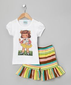Take a look at this Yellow & Green Girl Tee & Ruffle Shorts - Infant, Toddler & Girls by Sweet Petunia on #zulily today!