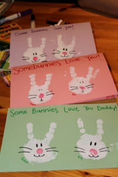 Easter Hand Print Bunnies. (only put paint on two fingers.) Great framed, on canvas, or as cards for the family!