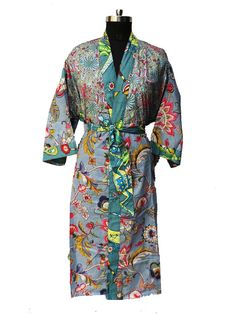 Cotton Designer Bath Robe Cotton Robe,Kimono Indian Pure Cotton Bath Robe ,Night Wear Suit Dressing Gown For Women Bridesmaid Gift by indiantexture on Etsy