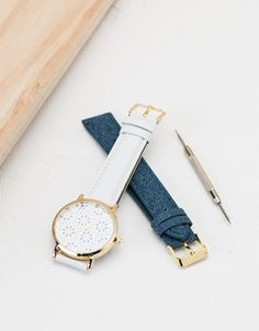 Watch with interchangeable denim strap - Watches - Bershka Philippines