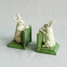 vintage bunny bookends