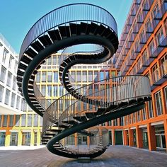 The Infinite Staircase by Olafur Eliasson located at the entrance of the KPMG office building in Munich, Germany