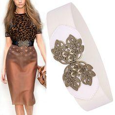 Vintage leaves cummerbund peony gold flower cutout buckle elastic waist women's wide belts