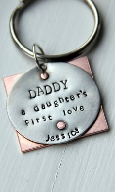 Daddy a Daughters First Love Keychain  Daddy by whiteliliedesigns