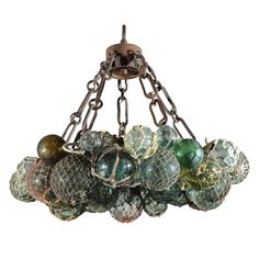 Custom Antique Japanese Fishing Float LED Chandelier | From a unique collection of antique and modern chandeliers and pendants  at http://www.1stdibs.com/furniture/lighting/chandeliers-pendant-lights/