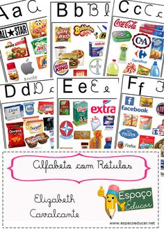 O Alfabeto com rótulos já está completo para você imprimir! É grátis!! - ESPAÇO EDUCAR