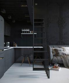 In meno di 24 mq ecco un bellissimo loft con soppalco dall'atmosfera elegante e intima grazie all'utilizzo di colori scuri e arredi raffinati.