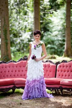 Beautiful white wedding dress with purple ombre detail