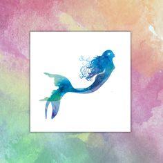 Mermaid watercolor Temporary tattoo
