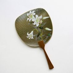 Uchiwa-fan Greeting Card - Blooming White Lily Hand Held Fan, Hand Fan, White Lilies, Semi Transparent, Japanese Prints, Fans, Greeting Cards, Bloom, Lily