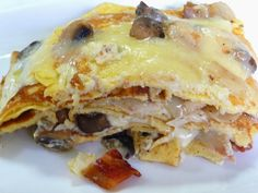SPLENDID LOW-CARBING BY JENNIFER ELOFF: CHICKEN MUSHROOM BACON LOW-CARB CREPE LASAGNA ~ You will not miss pasta with this crepe lasagna. It tastes so similar in any case. Visit us at: https://www.facebook.com/LowCarbingAmongFriends