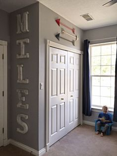 Little boy room! Toddler decor. Sports, superheroes, and trains, oh my! DIY with tutorial.