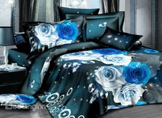 Fantasy Blue Flower and Butterfly Print 4-Piece Polyester Duvet Cover Sets on sale, Buy Retail Price Cheap 3D Bedding Sets at Beddinginn.com