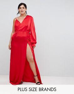 2e6bcd80f35 TTYA BLACK Plus One Shoulder Maxi Dress With High Thigh Split