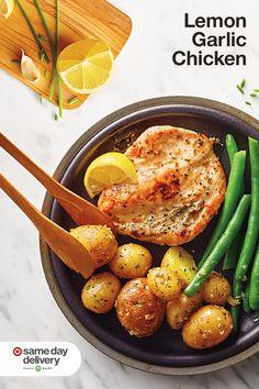 Dinner Dishes, Easy Dinner Recipes, Food Dishes, Dinner Ideas, Comidas Fitness, Lemon Garlic Chicken, Healthy Snacks, Healthy Recipes, Health Dinner