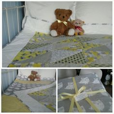 Yellow and grey cot quilt