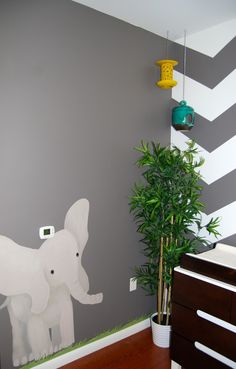 Faisal's Modern Safari Nursery | Project Nursery-elephant/grass