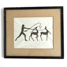 MOVING SALE 1920's African Silhouette Cut Out Framed Vintage ART by VintageCommon on Etsy