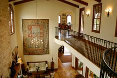 Gorgeous sweeping interior of Spanish style luxury home.