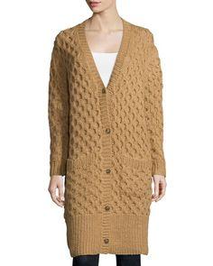 MICHAEL KORS Button-Front Textured Long Cardigan, Fawn. #michaelkors #cloth #cardigan