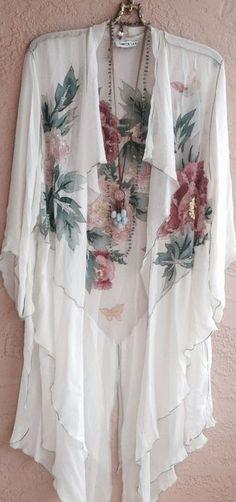 resort Gypsy Bohemian Silk Beaded kimono with Roses ruffles
