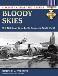 BLOODY SKIES by Nicholas A. Veronico -- A visual history of the US Eighth Air Force in World War II, featuring hundreds of photos of American bomber and fighter planes damaged or shot down by the German Luftwaffe. Captions provide information on their crews and missions. This book is an ideal reference for military history fans, scholars, and modelers.